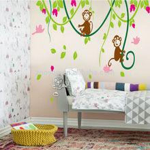 2014 Kids Room Decor Art PVC Wall Stickers Removable wall decal cartoon kids room decor family monkey birds