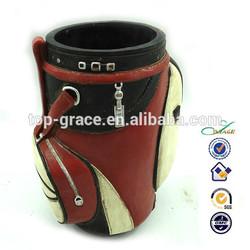 resin sports golf bag shape decorative pen holder
