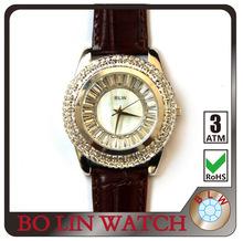 ladies/brass casting case/glued diamonds/steeled glass/water resistant/high grade IP pltinum, royal diamond watches