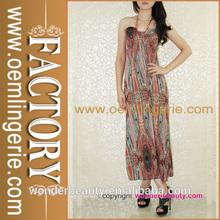 de alta calidad de verano sin mangas de impresión floral hawai vestidos para las mujeres