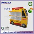 Meiya pop custom car/ônibus em forma de matte filme pp laminação de papelaria papelão pallet display rack, almoço caixa display stand