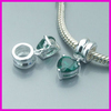 Heart shape green cz charm with silver ring_925 sterling silver with green cz heart charm