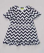 2014 Popular frock dcesign toddler and infant chevron shift ruffle short sleeve children chevron smock dress