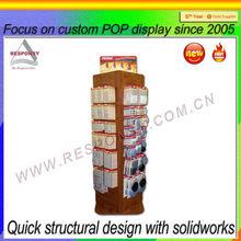 freestanding 4 side rotating wooden display stand/pop pos rotating wooden display stand