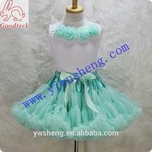 Wholesale aqua nylon baby girl pettiskirts sets, tank top with rose flower+ruffle pettiskirt