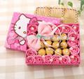 rosa sabão da flor rosa bouquet de chocolate com olá kitty caixa de presente