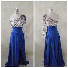 DWS054 Real Sample A-line Sweetheart Sleeveless Court Train Navy Blue Beaded Slit Long Hong Kong Prom Dresses 2014
