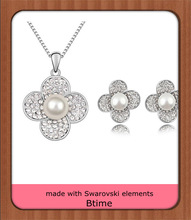 2014 New design flower shape jewelry set made with Swarovski elements Pearl
