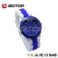 Aço inoxidável de volta caso branco e azul silicone strap relógios de pulso matérias-primas