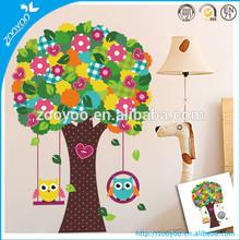 Zooyoo nursery pvc wall decal kids wall sticker home decoration kindergarten wallpaper cartoon swing owl