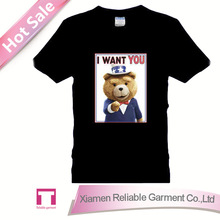 100 cotton 160 gsm teddy bear with t shirt men's round neck t shirt with chest print