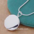 925 silve simples espelho redondo pingente colar