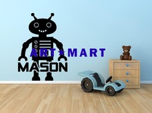 Robot Monogram Name Vinyl Wall Decal Graphics,Diy Wall Decor Sticker NO.11429