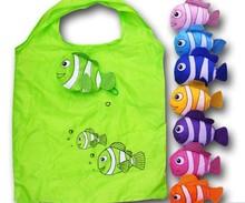 Tropical fish cute reusable plastic bags, Eco friendly Shopping bag , cartoon polyester bags folding handle bag