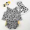 2014 new arrival cow yellow ruffle baby clothes set kid clothing set with leg warmers and bow headband sets for summer