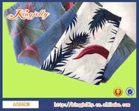 cotton and linen printing denim fabric light weight 3.8oz