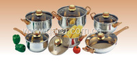 12pcs pieces stainless steel cookware set with super capsule bottom, sandwich bottom, bakelite handle