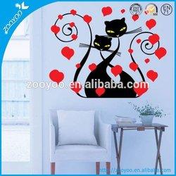Removable vinyl home wall sticker/wall 3D art red flower black cat