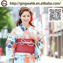 Fuuka Beautiful Kimono Yukata Uniform Wedding Marriage Event Photo Shooting Women Light Blue with Orange Lily Yukata Obi Set