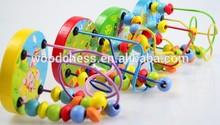 2014 nuevos niños laberinto de madera de juguete, calidad superior de los niños de los animales del grano cadena de juguetes, mini primera del grano del bebé de madera laberinto w11b018