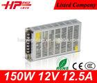 Manufacturer high reliability CE RoHS constant voltage single output 150W 12.5A 12V smps ac dc led driver 12v