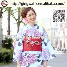 Fuuka Beautiful Kimono Yukata Uniform Wedding Marriage Event Women Light Blue with Purple and Dark Red Hydrangea Yukata Obi Set