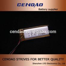 cendao li polymer battery 3.7v 110mah 401235 diamension 3.7volt li polymer battery polymer battery charger