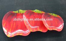 Red apple shape glass decal plate 3 asst