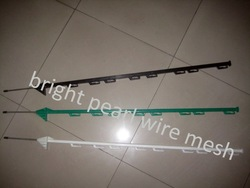 Plastic picket fence post with steel stakes especially for electric fencing
