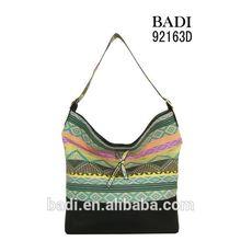 badi print fabric pu handbags customize put your logo factory fashion women handbag