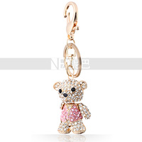 Animal Key Chain Crystal Toy Bear with Jacket Backpack Pendant Gold/Silver Plated Shining Gift