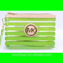 PVC Cosmetic Bag with Color Trim Clear Vinyl Travel Makeup Bag Beauty Case Pouch