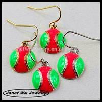 best quality fashion zinc alloy 18k gold plating christmas ball drop earrings