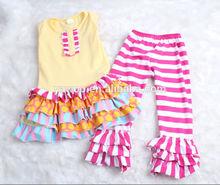 wholesale children's boutique clothing adorable plastic button cheap little kids clothes fall clothing stripe pants sets