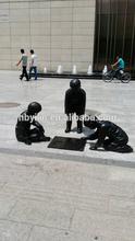 Bronze Children Playing Chess Sculpture