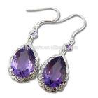 majestic purple amethyst 925 sterling silver dangle drop earrings