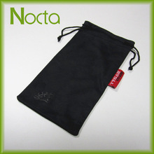Black microfiber drawstring bag for sunglasses