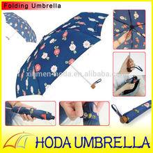 Mini umbrella for kid or girl sun or rain umbrella 90% UV protection three folding cute umbrella with small broken flowers on fa