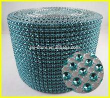 10 Yards 24 Rows Peacock Blue Imitation Rhinestone Mesh Trim Plastic Material & Flatback