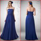 2014 Hot Sale A Line Strapless Long Pleats Zipper Floor Length Blue Satain Zuhair Murad Evening Dress
