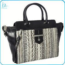 Stylish genuine cow leather with snake skin handbag