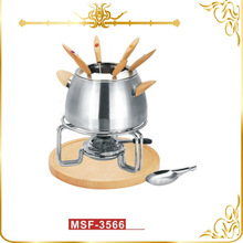 Chinese made cheese & chocolate fondue set stainless steel pot wooden handle & stand