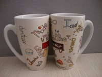 ZIBO XINYU XY-0748 Large Capacity Coffee or Milk Cup with Letter Body Printing