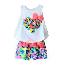 Infant Clothing Female Baby Clothes Children's Clothing Princess Suits Summer Set Lovely Baby Girls Set Vest+ Shorts SV002205