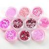 10 PCS Nail Art Pink Decoration Glitter Dust Powder Set HN614