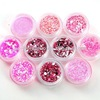 10 PCS Nail Art Pink Decoration Glitter Dust Powder Set HN614