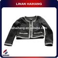 Tweed recortada crochet roupas infantis para meninas