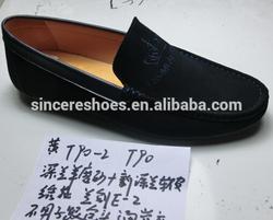 Dark Blue Suede Leather Man Fashion Footwear Shoe