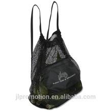 Farmer's Market Drawstring Mesh Bag with a front zip pocket thick drawstring shoulder straps