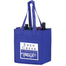 Bottle Bag 80gsm non woven wine bags with foam bottom and built-in dividers and velcro closure handles
